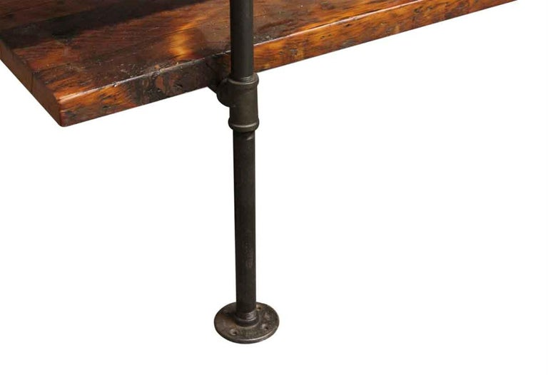 Cast Dark Stained Pine Shelf Unit with Pipe Legs For Sale
