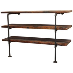 Dark Stained Pine Shelf Unit with Pipe Legs