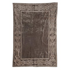Dark Taupe Velvet Throw with Braided Embroidery