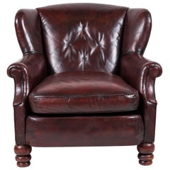 Dark Umber Colored Leather Wing Chair