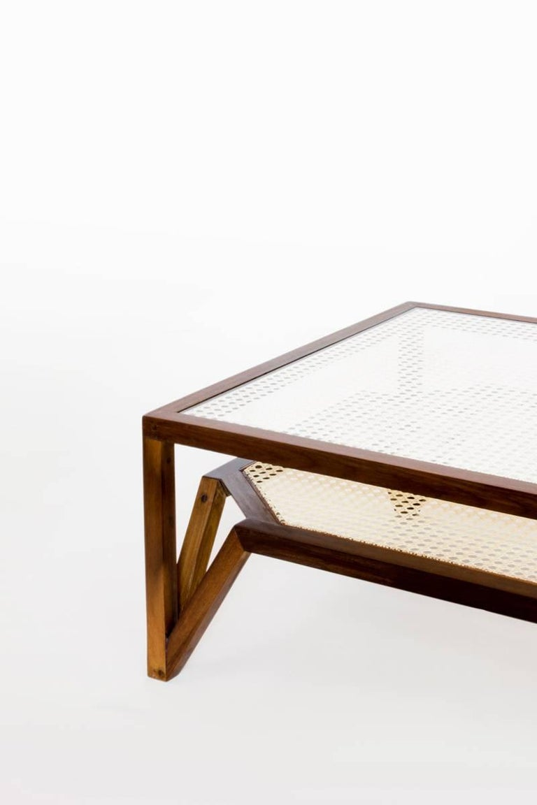 Brazilian Coffee Table in Dark Hardwood and Woven Cane. Contemporary Design. For Sale