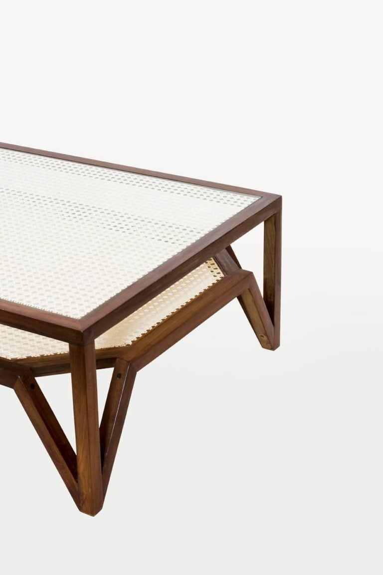 Woodwork Coffee Table in Dark Hardwood and Woven Cane. Contemporary Design. For Sale