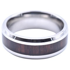 Dark Wood Inlay Stainless Steel Band