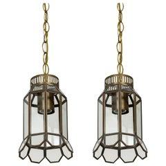 Darkened Brass and Paned Glass Chimney Shade Pendants 'Pair'