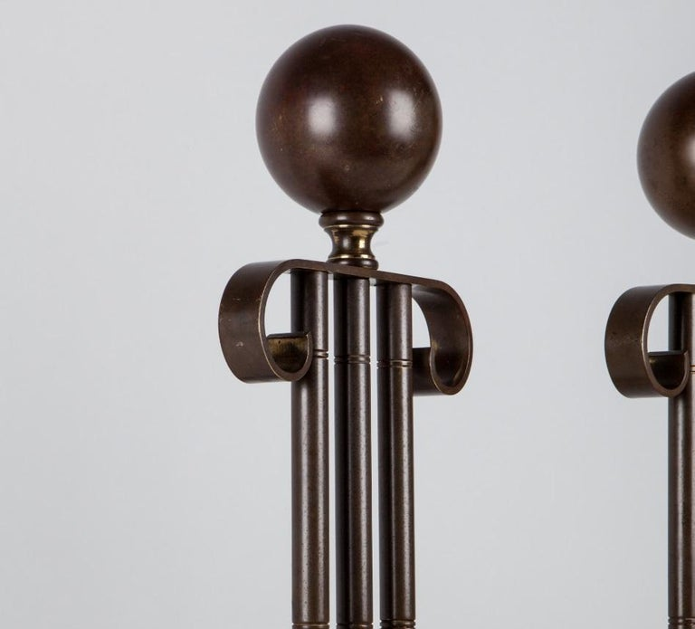 Darkened Brass Andirons In Excellent Condition For Sale In New York, NY