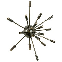 Darkened Brass Starburst 18-Light Sputnik Flushmount