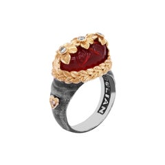 Darkened Silver and 18K Gold Flower Ring with Carved Carnelian Center Diamonds