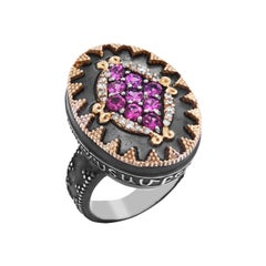 Darkened Silver and 18K Gold Oval Dome Ring with Magenta Garnet and Diamonds