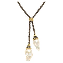Darkened Silver and Gold Lariat Necklace with Baroque Pearl Drops Stambolian