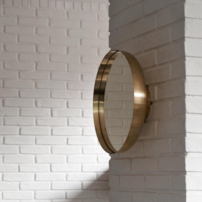 Powder-Coated Darkly Mirror, Large, Brass, Designed by Nick Ross For Sale