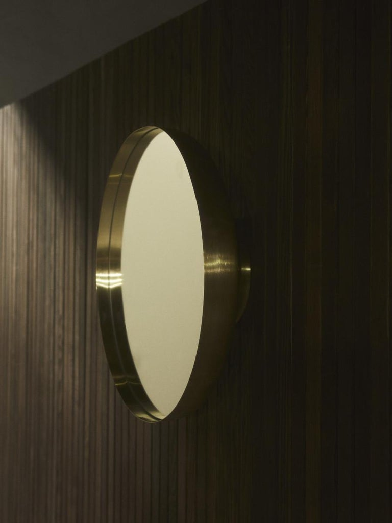 Steel Darkly Mirror, Large, Brass, Designed by Nick Ross For Sale