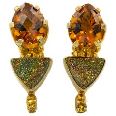 Darla N. Nordstrom Citrine and Druzy Gold Plated Sterling Silver Drop Earrings
