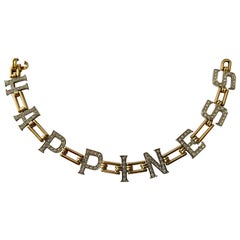 Darling 18 Karat Yellow Gold Diamond Letter Bracelet