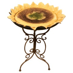 Darling Ceramic Sunflower Side Table with Iron Base