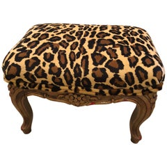 Darling Chic Little French Carved Wood and Faux Leopard Footstool