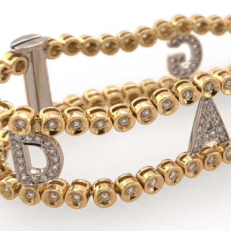 Darling Diamond Gold Riviere Bracelet In Excellent Condition For Sale In New York, NY
