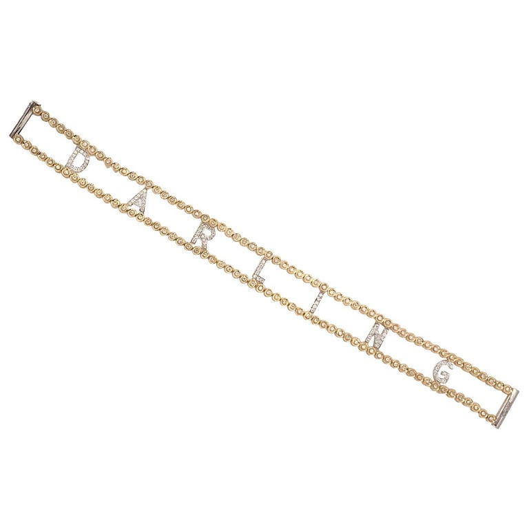 Darling Diamond Gold Riviere Bracelet For Sale