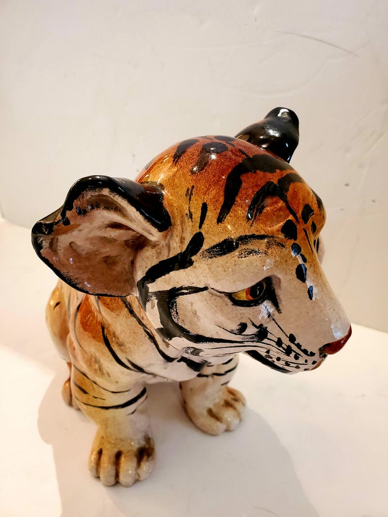 Striking Italian ceramic tabletop sculpture of a fetching tiger cub, guaranteed to make you swoon.