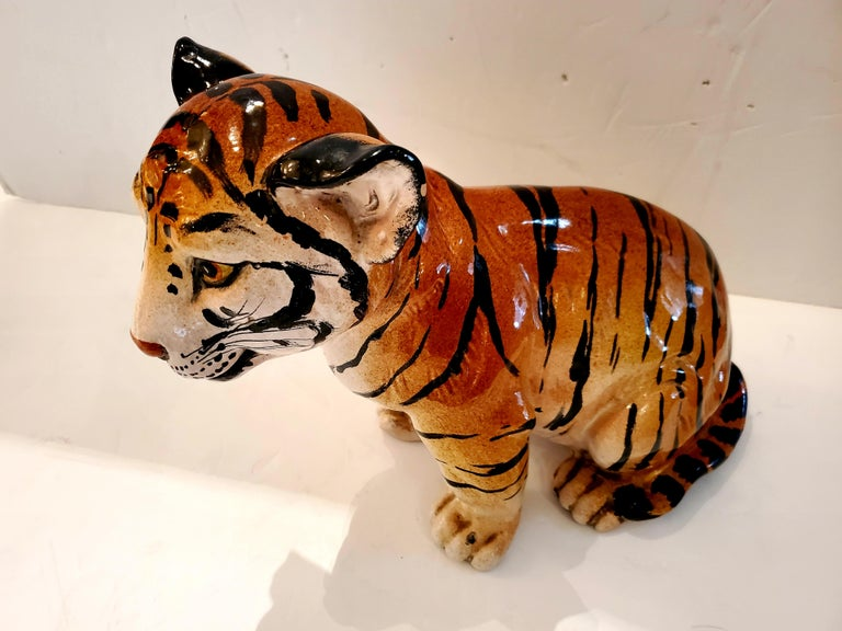 Late 20th Century Darling Italian Ceramic Tiger Cub Sculpture For Sale