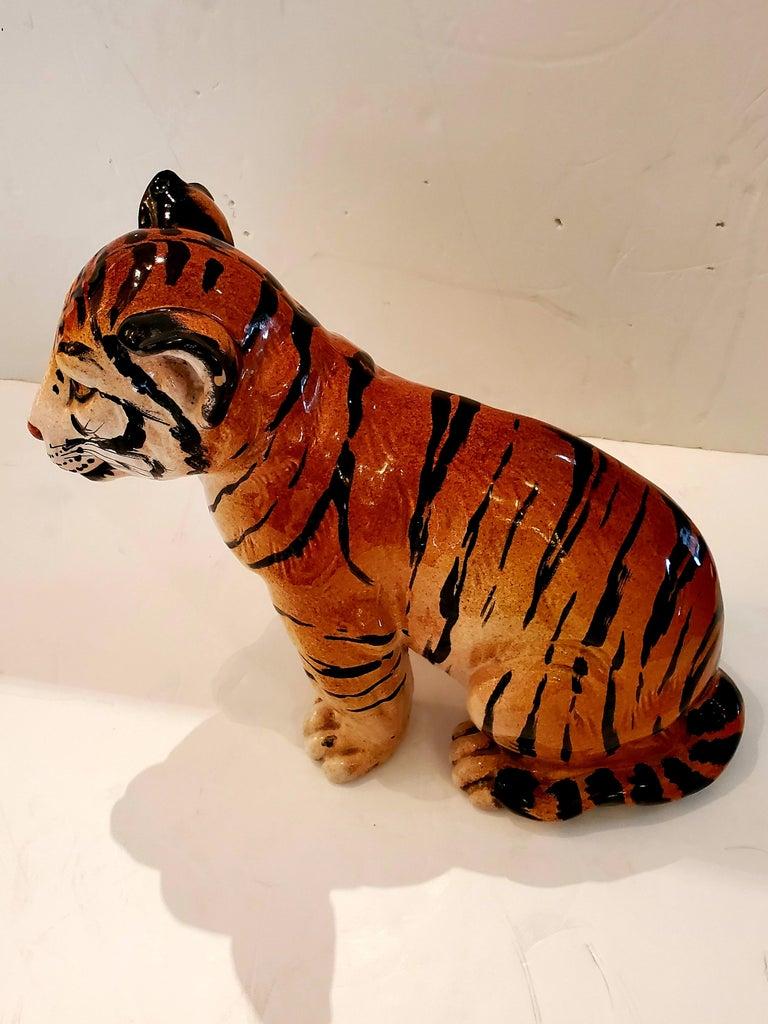 Darling Italian Ceramic Tiger Cub Sculpture For Sale 2
