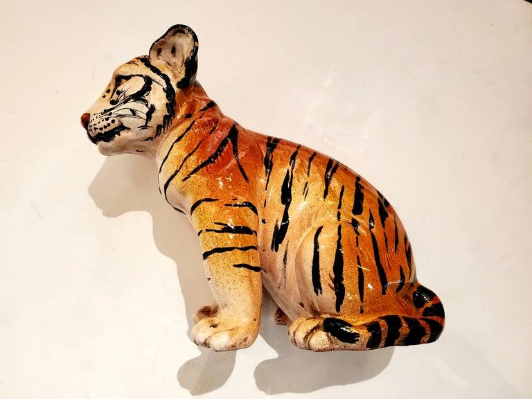 Darling Italian Ceramic Tiger Cub Sculpture For Sale 3