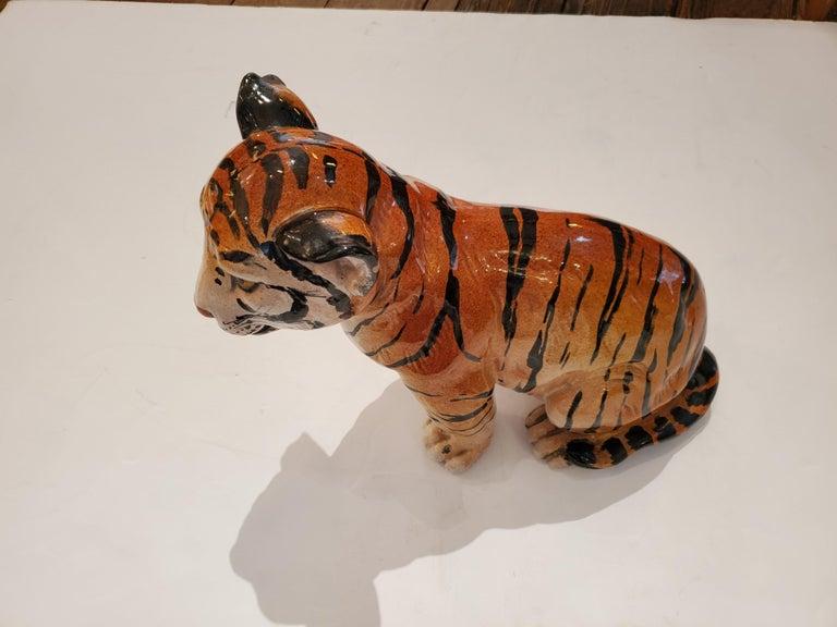 Darling Italian Ceramic Tiger Cub Sculpture For Sale 4