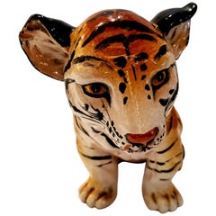 Darling Italian Ceramic Tiger Cub Sculpture