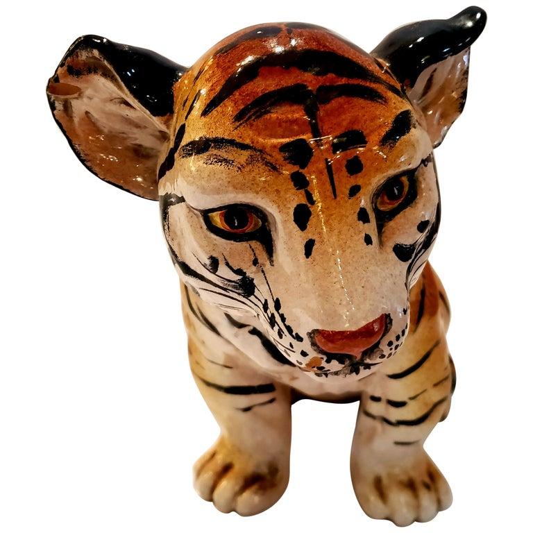 Darling Italian Ceramic Tiger Cub Sculpture For Sale