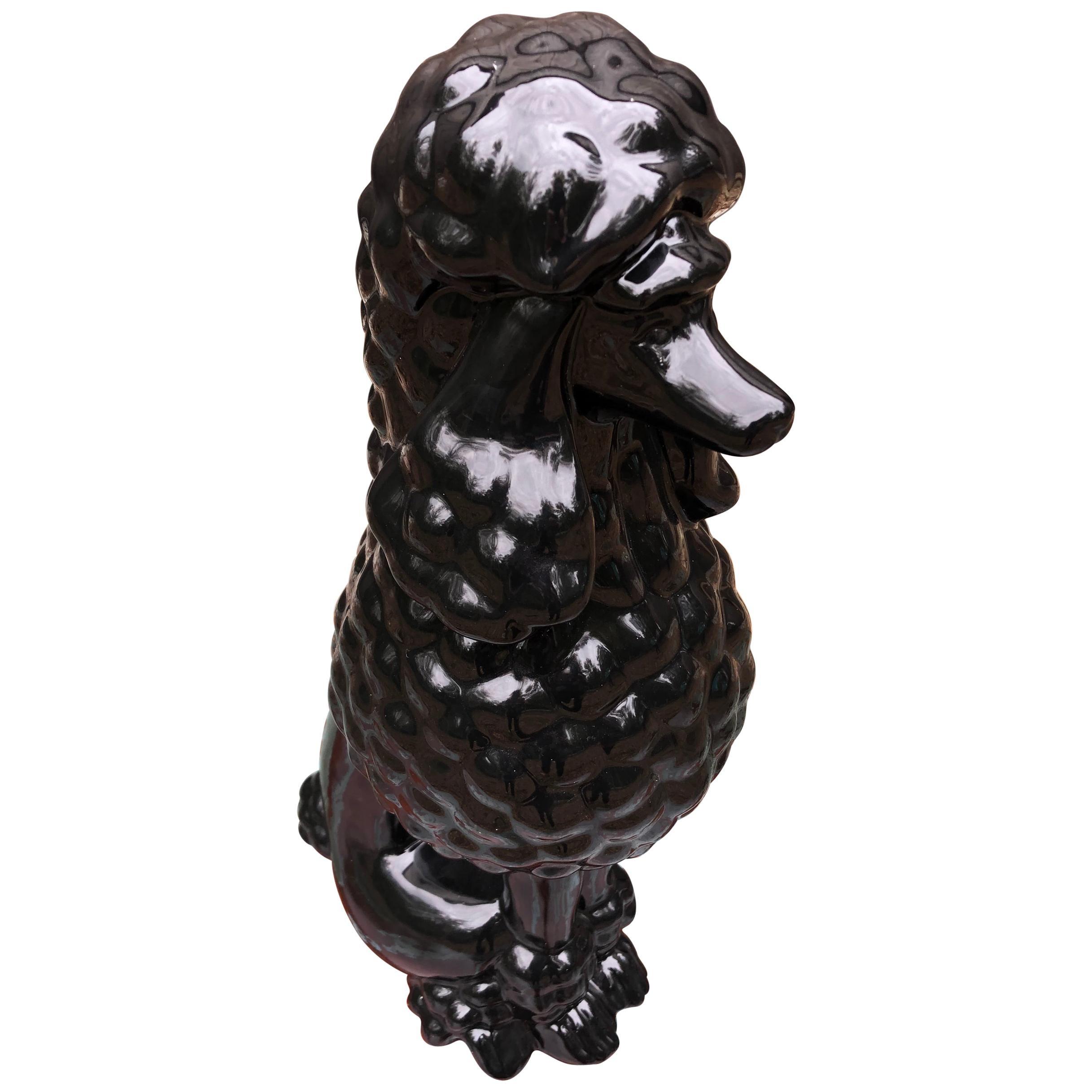 Darling Large Black Porcelain Poodle Sculpture