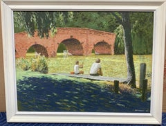 Modern British 20th century River landscape, On the Thames at Sonning