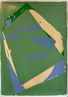 1970s Large Abstract Color Field Silkscreen Modernist Serigraph Bold Blue Green