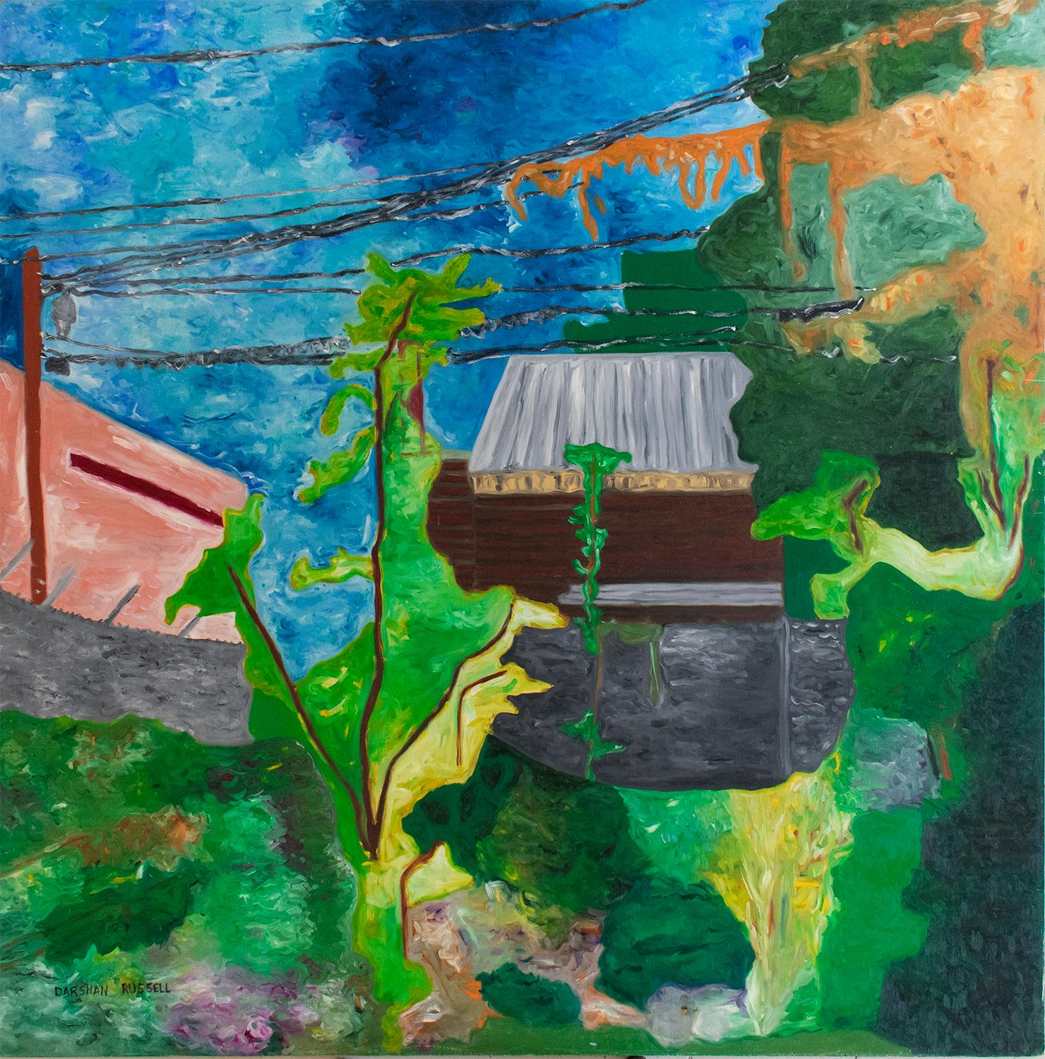 Backyard No. 4 (Large Square Abstracted Landscape Painting on Board)