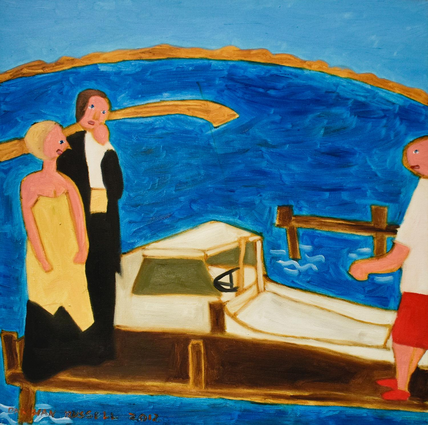 Prom Night on the Deck (Figurative Faux-Naif Oil Painting on Canvas)