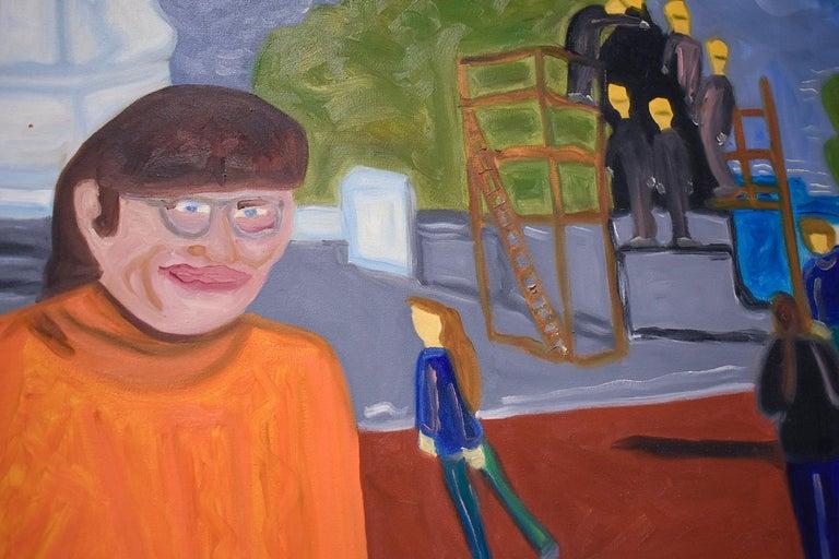 Self Portrait (Colorful Faux-Naif Figurative Cityscape Oil Painting) For Sale 2