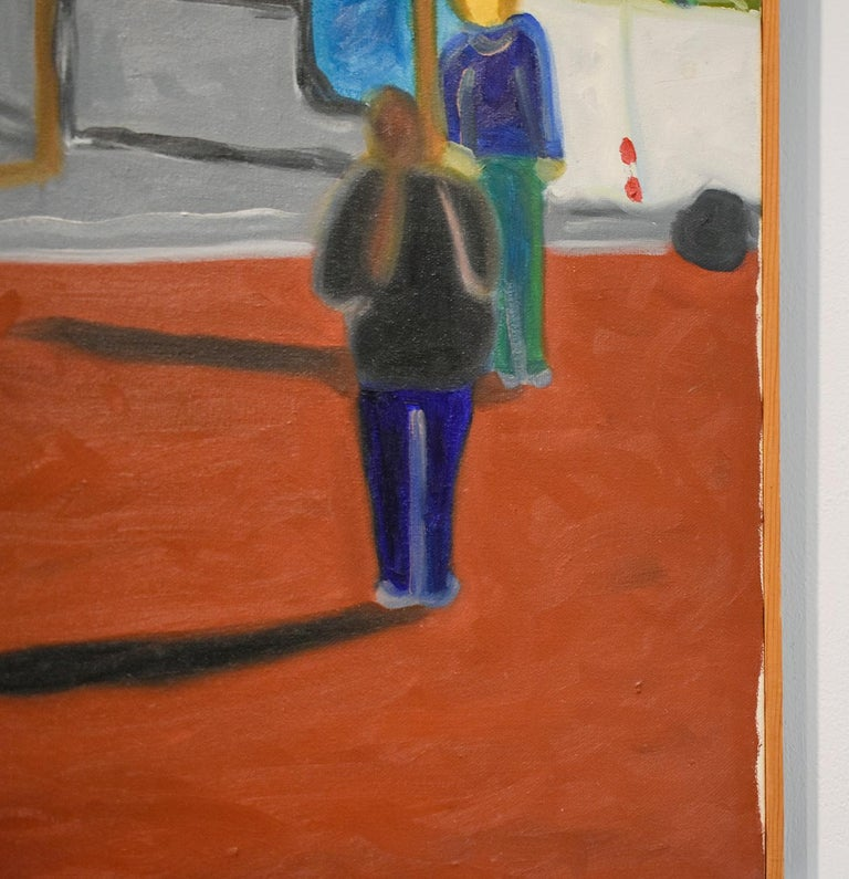 Self Portrait (Colorful Faux-Naif Figurative Cityscape Oil Painting) For Sale 3