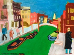 Venice (Colorful Faux-Naif Cityscape Oil Painting)