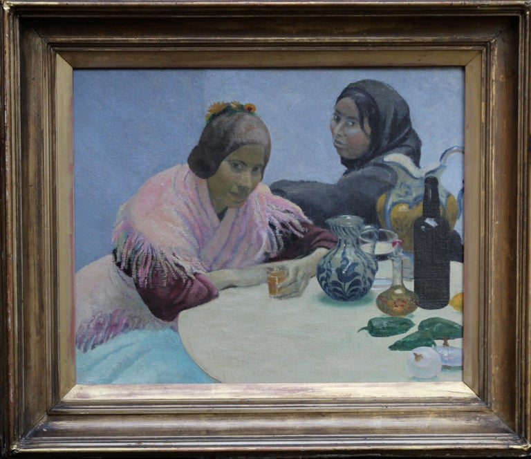 Two Women in a Cafe - British 1930's art oil portrait painting Spain jugs pink For Sale 7