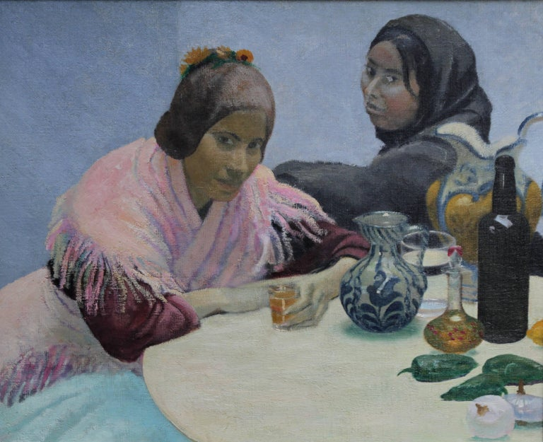 Two Women in a Cafe - British 1930's art oil portrait painting Spain jugs pink - Painting by Darsie Japp