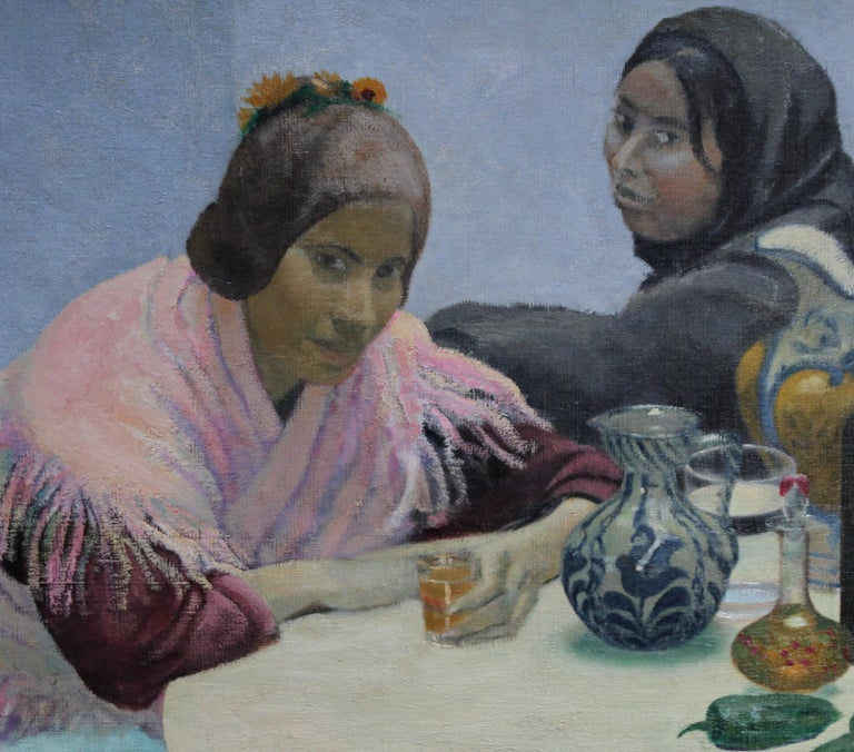 Two Women in a Cafe - British 1930's art oil portrait painting Spain jugs pink - Impressionist Painting by Darsie Japp