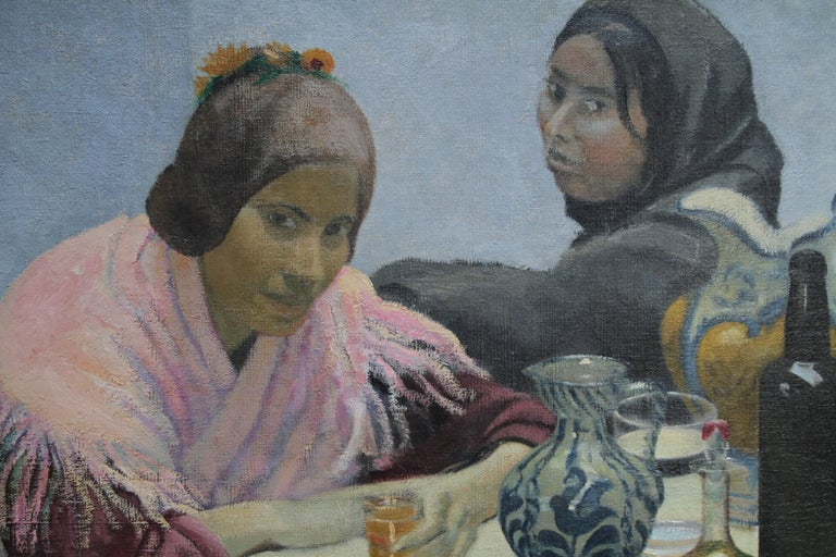 Two Women in a Cafe - British 1930's art oil portrait painting Spain jugs pink - Gray Portrait Painting by Darsie Japp