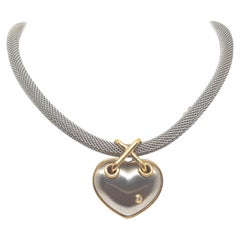 Darsy Yellow Gold Steel White Diamond Necklace Pendant Original