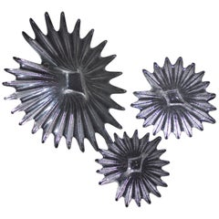 Dartington UK Lead Crystal, Design Anita Harris 3-Piece 1980 Palm Collection