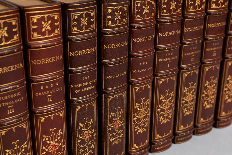 15 volumes.   (Norrcena) George W.Dasent. A Collection of Popular Tales From The Norse And North German. Viking Edition, limited to 650 copies, this is #5.   Bound in full wine morocco, top edges gilt, raised bands, gilt panels, front covers