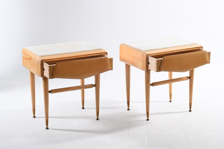 Mid-20th Century Dassi Mid Century Italian Night Stands Brass Feet and White Marble Top For Sale