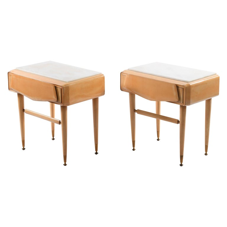 Dassi Mid Century Italian Night Stands Brass Feet and White Marble Top For Sale
