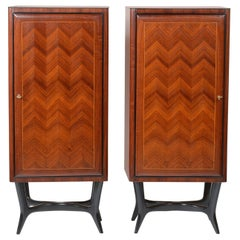 Dassi Midcentury Pair of Italian Precious Wood Cabinet with a Cross Base
