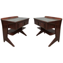 Dassi Midcentury Mahogany and Glass Top Italian Nightstands, 1950