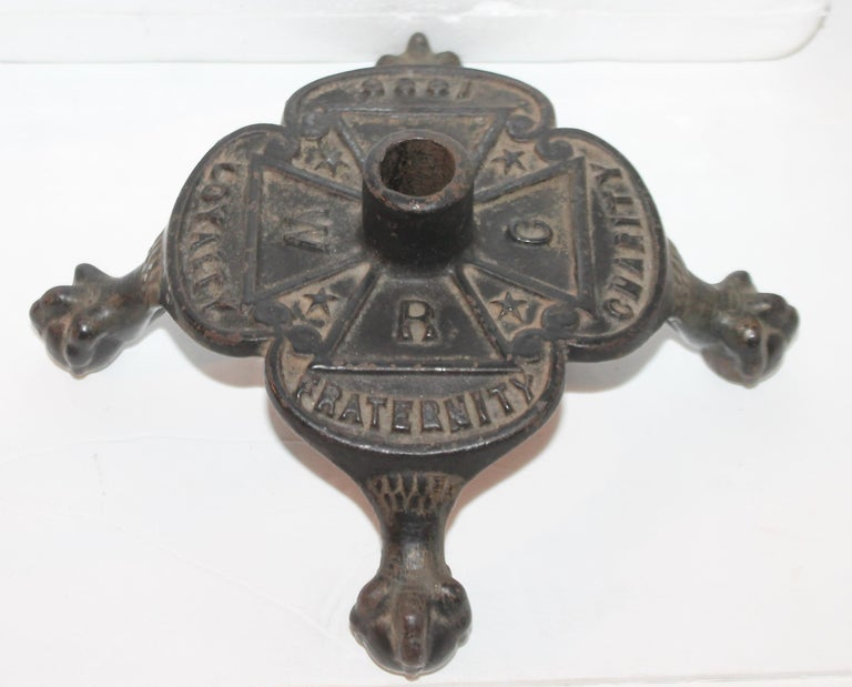 Masonic cast iron original black painted masonic flag holder with footed ball and claw feet. The condition is very good and strong.
