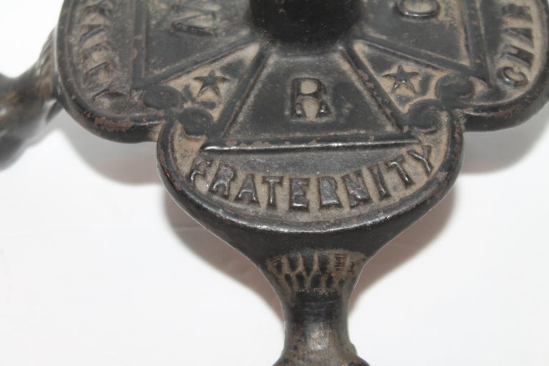 Folk Art Dated 1883 Masonic Flag Holder in Iron For Sale