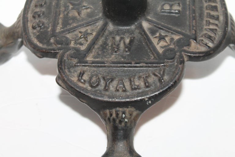 Dated 1883 Masonic Flag Holder in Iron In Good Condition For Sale In Los Angeles, CA